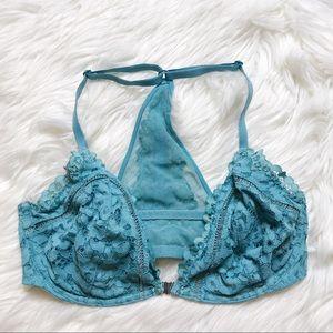 Victoria's Secret Teal Lace Unlined Plunge Bra